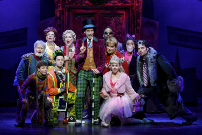 "Noah Weisberg as Willy Wonka, with the company of the Broadway musical ""Charlie and the Chocolate Factory."" (Joan Marcus/Courtesy of the production)"
