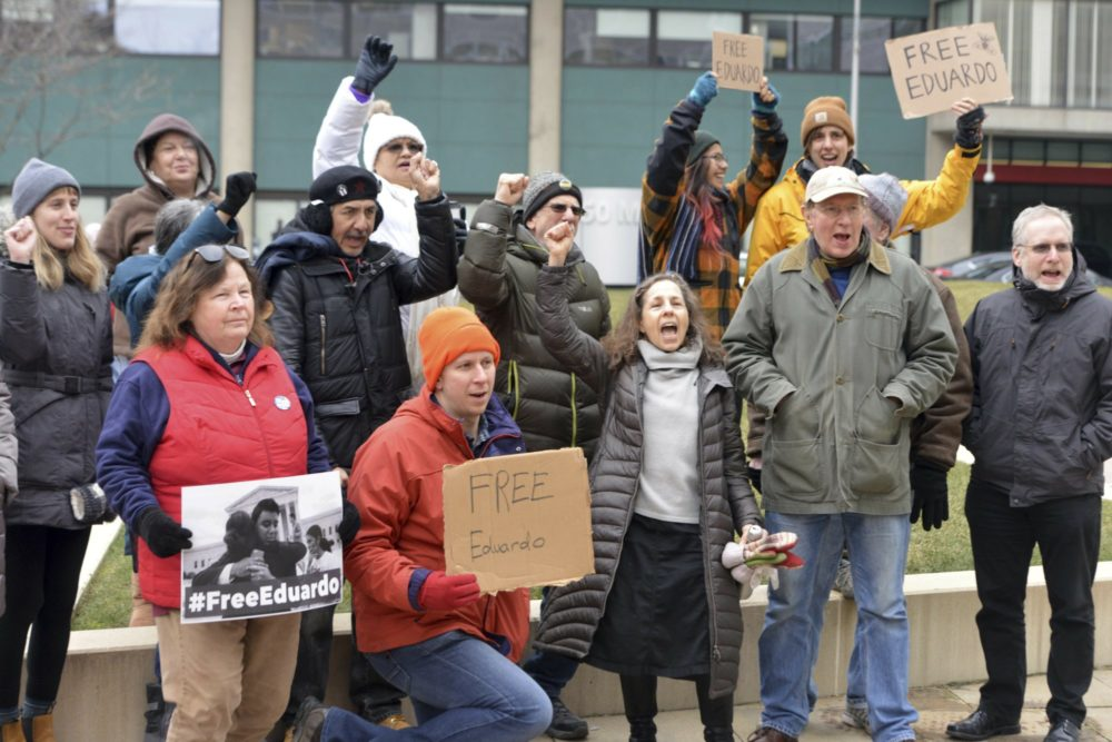 Supporters of immigrant right advocate Eduardo Samaniego gathered to present a petition with 9,000 signature asking for his release to the U.S. Customs Enforcement office on Wednesday in Springfield. (Don Treeger/The Republican via AP)