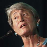 Former Interior Secretary Sally Jewell speaks during the Outdoor Retailer show July 26, 2017, in Salt Lake City. (Rick Bowmer/AP)