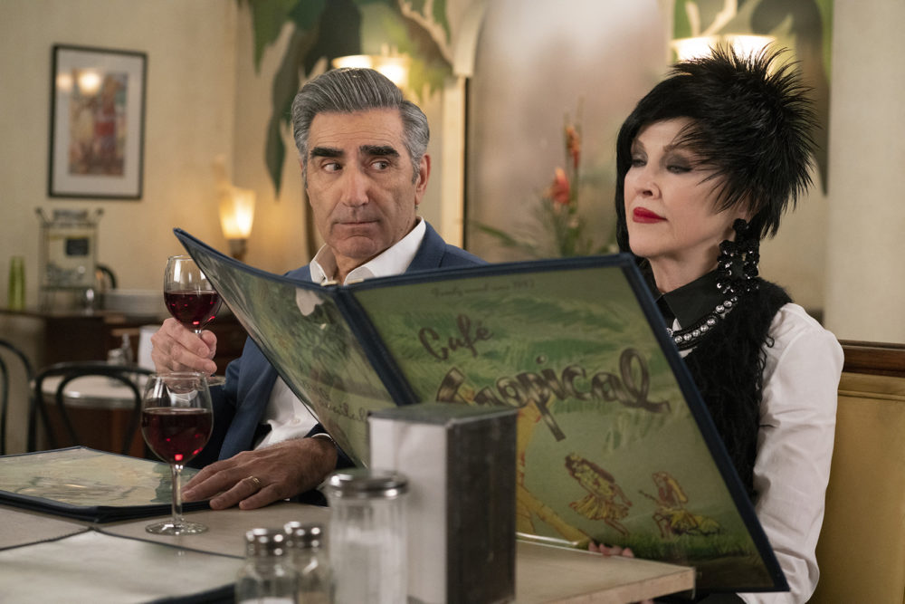"Johnny (Eugene Levy, left) and Moira (Catherine O'Hara) in a scene from season 5 of ""Schitt's Creek."" (Courtesy of POPtv)"