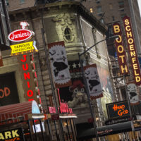 Broadway play marquees are seen near Times Square in New York City. (Andrew Burton/Getty Images)