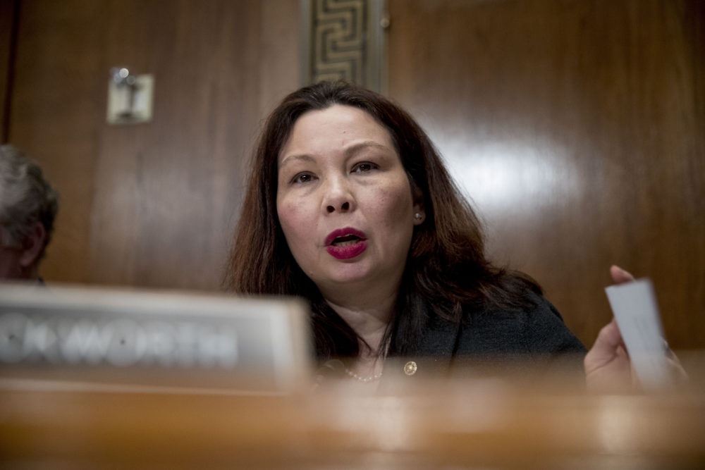 Sen. Tammy Duckworth, D-Ill., questions Andrew Wheeler as he testifies at a Senate Environment and Public Works Committee hearing to be the administrator of the Environmental Protection Agency, on Capitol Hill in Washington, Wednesday, Jan. 16, 2019. (Andrew Harnik/AP)