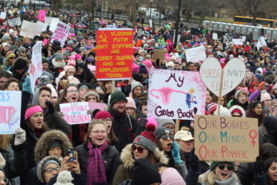 Throngs of protesters gathered on Boston Common for the third annual Women's March. (Quincy Walters/WBUR)