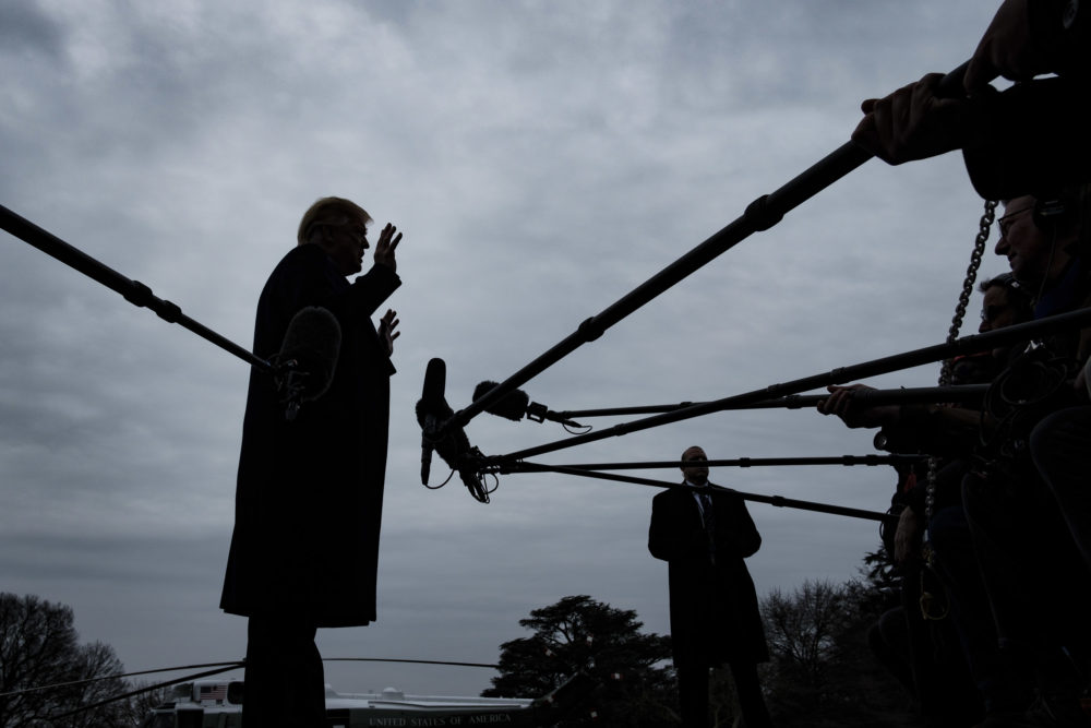 President Trump stops to speak to reporters as he prepares to board Marine One on the South Lawn of the White House on Jan. 19, 2019 in Washington, D.C. (Pete Marovich/Getty Images)