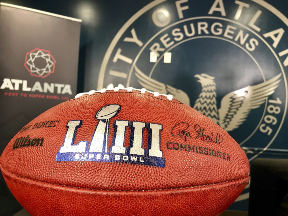One of two footballs that flanked local, state and federal law enforcement officials at a Tuesday news conference about public safety at the upcoming Super Bowl 53 in Atlanta. The city is hosting the game on Feb. 3. (Jeff Martin/AP)