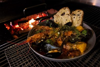 Trillium Fort Point's Fish Stew with Grilled Prawns and Mussels. (Jesse Costa/WBUR)