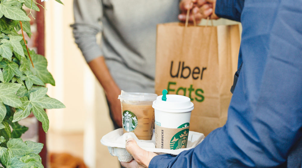 As of Tuesday in San Francisco, Starbucks is available for delivery via the Uber Eats app. (Courtesy of Starbucks)