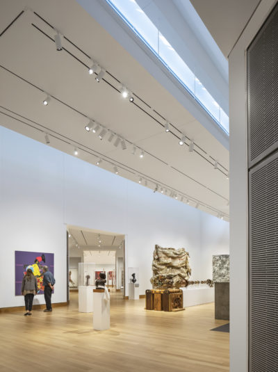 The renovated second-floor galleries that feature installations of contemporary African, Melanesian and contemporary Aboriginal Australian art. (Courtesy Michael Moran/Hood Museum of Art, Dartmouth)