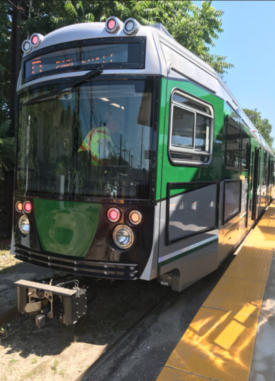 """A view of a """"Type 9 LRT"""" car being tested on the Green Line last year. (Courtesy MBTA)"""