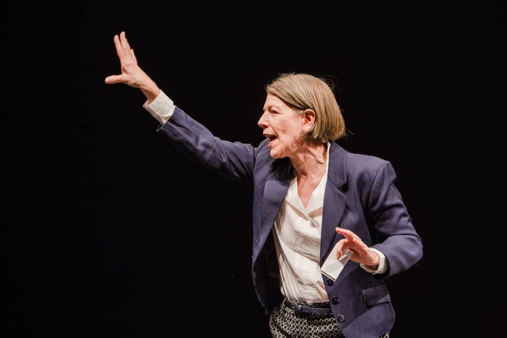 "Sebastian Ryder plays Lisa Kron in Wellesley Repertory Theatre's production of ""Well."" (Courtesy Wellesley Repertory Theatre)"