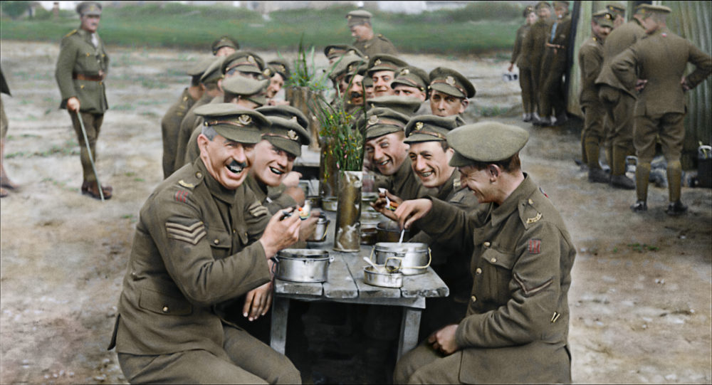 "A restored and colorized image showing a moment from Peter Jackson's ""They Shall Not Grow Old."" (Courtesy Warner Bros. Pictures)"