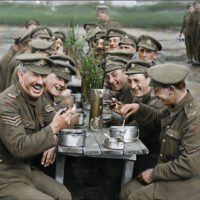 """A restored and colorized image showing a moment from Peter Jackson's """"They Shall Not Grow Old."""" (Courtesy Warner Bros. Pictures)"""