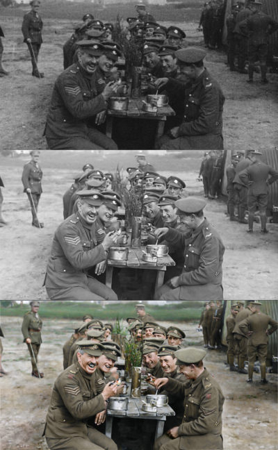 "The progression from the original to the final colorized image in a moment from ""They Shall Not Grow Old."" (Courtesy Warner Bros. Pictures)"