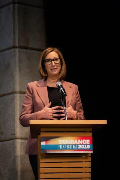 Sundance Institute Executive Director Keri Putnam speaks at the festival's opening day. (Courtesy Duston Todd/Sundance Institute)