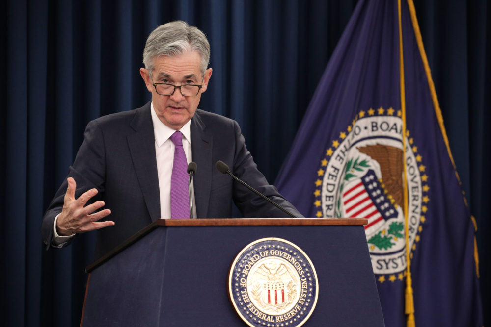 Federal Reserve Board Chairman Jerome Powell speaks during a news conference on Jan. 30, 2019 in Washington, D.C. (Alex Wong/Getty Images)