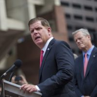 Support from Boston Mayor Marty Walsh and Gov. Charlie Baker could push the education funding effort over the finish line. (Jesse Costa/WBUR)