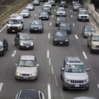 Cars crawl at a snail's pace on the Mass Pike during a Friday evening commute. (Jesse Costa/WBUR)