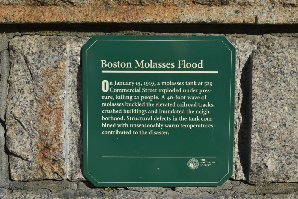 A plaque commemorates the Boston Molasses Flood. (Julia Press/WNPR)