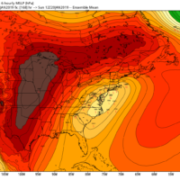 Models agree on a storm forming south of New England this weekend, but track, location, timing and more are still unknowns. (Courtesy WeatherBell)