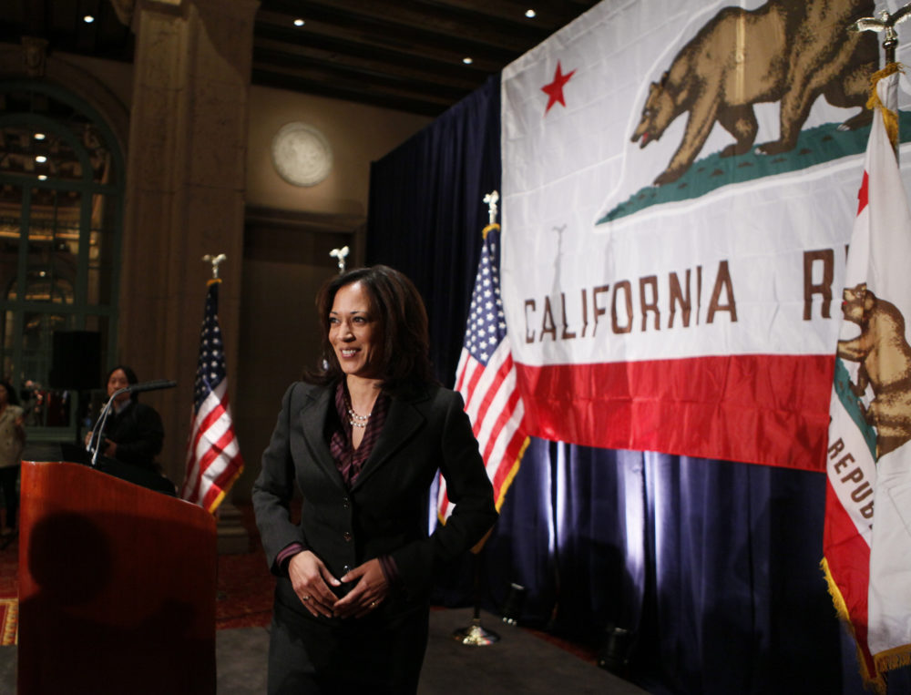 California Attorney General Kamala Harris gives her first news conference in Los Angeles on Tuesday, Nov. 30, 2010. (Damian Dovarganes/AP)