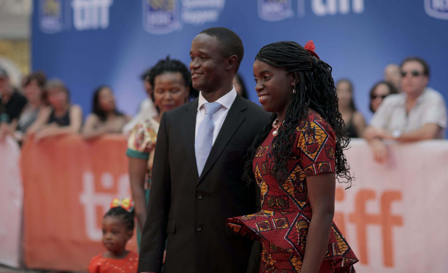Phiona Mutesi and her coach, Robert Katende, at the Toronto International Film Festival in 2016. (Jesse Herzog/Invision/AP)