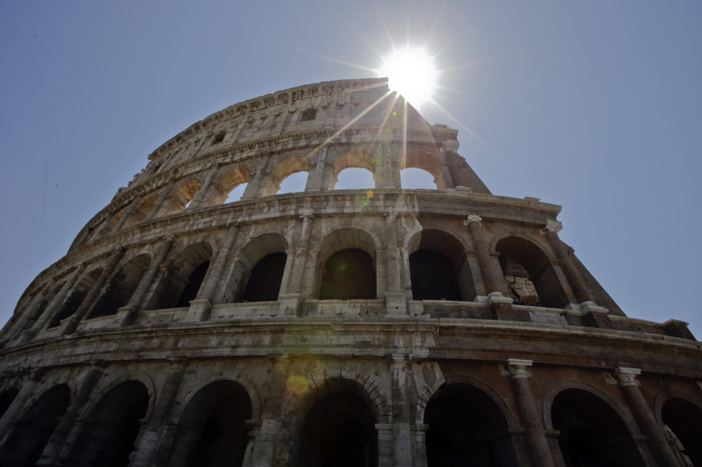 A view of the Colosseum after the first stage of the restoration work was completed in Rome, Friday, July 1st, 2016. (Andrew Medichini/AP)