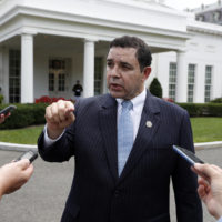 Rep. Henry Cuellar, D-Texas, speaks with the media in front of the West Wing after a bipartisan meeting with President Donald Trump at the White House, Wednesday, Sept. 13, 2017, in Washington. (Alex Brandon/AP)