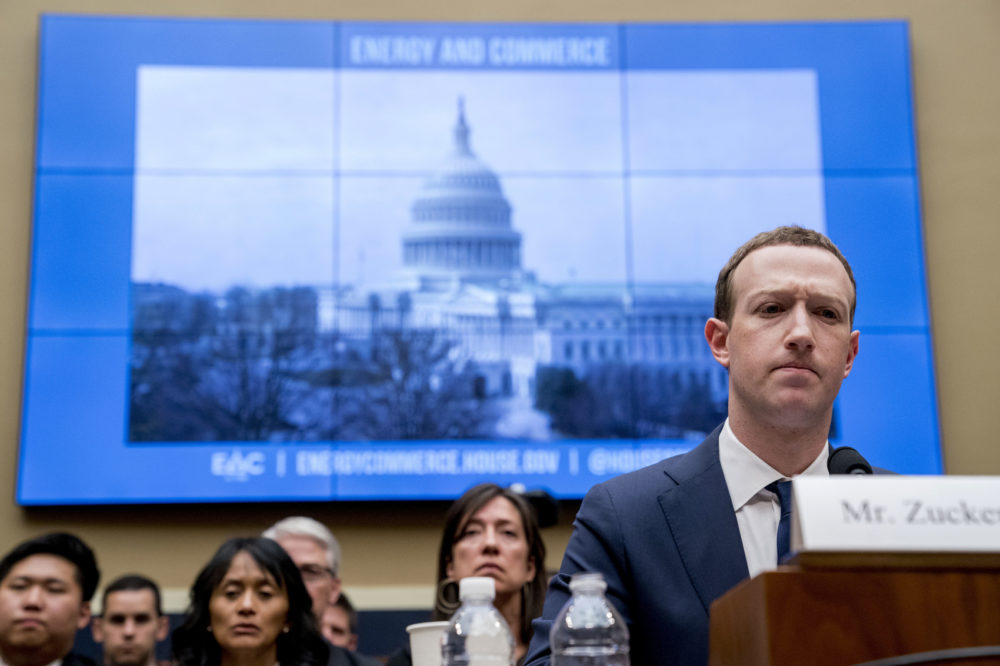 Facebook CEO Mark Zuckerberg pauses while testifying before a House Energy and Commerce hearing on Capitol Hill on April 11, 2018. (Andrew Harnik/AP)