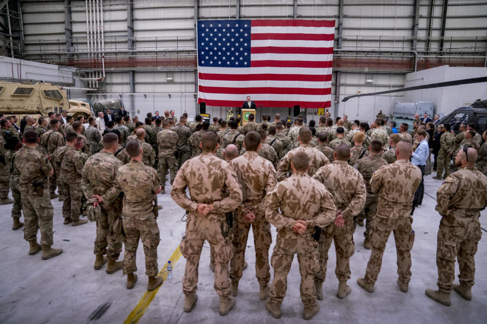 Secretary of State Mike Pompeo speaks to coalition forces at Bagram Air Base, Afghanistan, Monday, July 9, 2018. (Andrew Harnik, Pool/AP)
