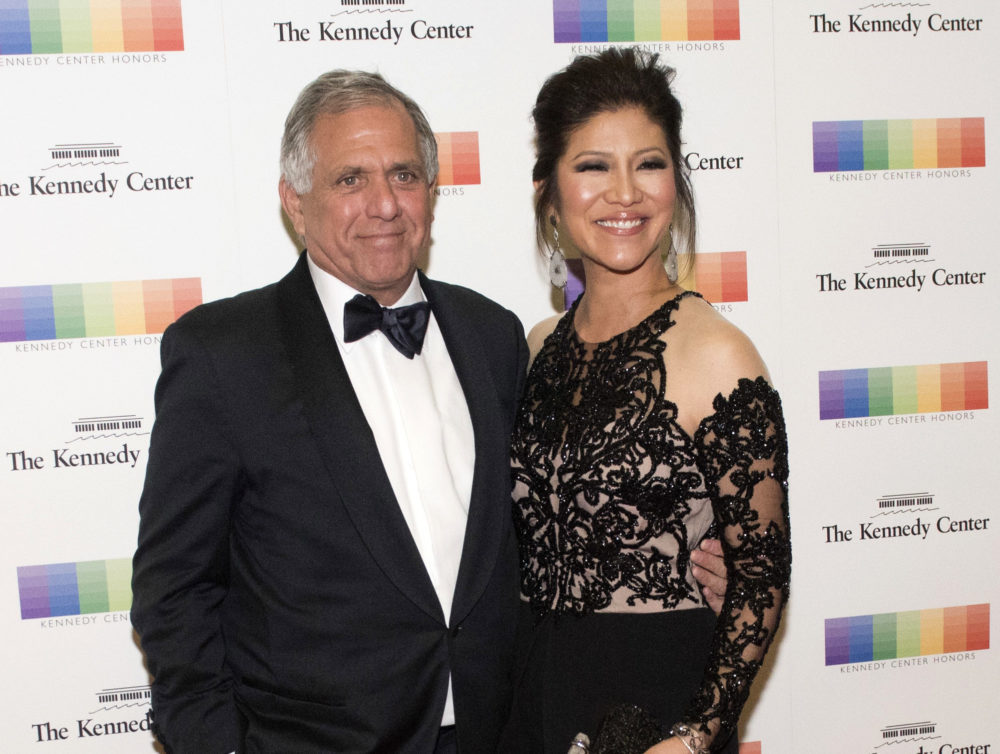 "FILE - In this Dec. 2, 2017 file photo, Les Moonves, left, and his wife Julie Chen arrive for the Kennedy Center Honors gala dinner in Washington. Chen was absent from her talk CBS show, ""The Talk"" a day after a new round of sexual misconduct allegations against Moonves brought the departure of the CBS chief executive. In what was supposed to be a celebratory season premiere Monday, Sept. 10, 2018, the show's four other panelists walked out somberly without Chen, who acts as host and moderator. Sharon Osbourne choked back tears as she announced Chen would be taking time off to be with her family, and expressed support for her co-star and friend. (AP Photo/Kevin Wolf, File)"