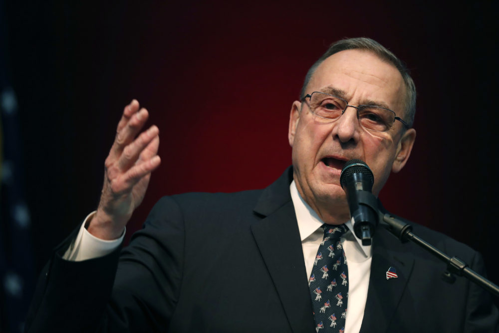 Former Gov. Paul LePage speaks at the Republican Convention in Augusta, Maine, on May 5, 2018. (Robert F. Bukaty/AP)