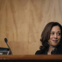 Sen. Kamala Harris, D-Calif., is seated during a hearing of the the Senate Committee on Homeland Security and Governmental Affairs for Steven D. Dillingham to be Director of the Census, on Capitol Hill, Wednesday, Oct. 3, 2018 in Washington. (Alex Brandon/AP)