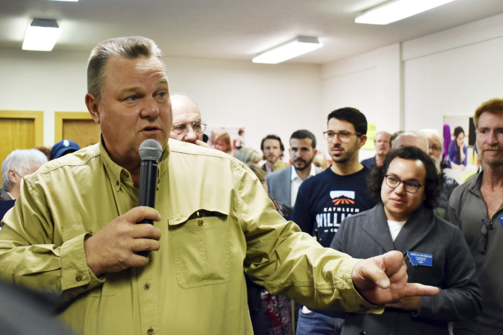 Montana Democratic Sen. Jon Tester talks with supporters at a campaign rally at the Billings Education Association headquarters in Billings, Mont., Friday, Oct. 26, 2018. (Matthew Brown/AP)