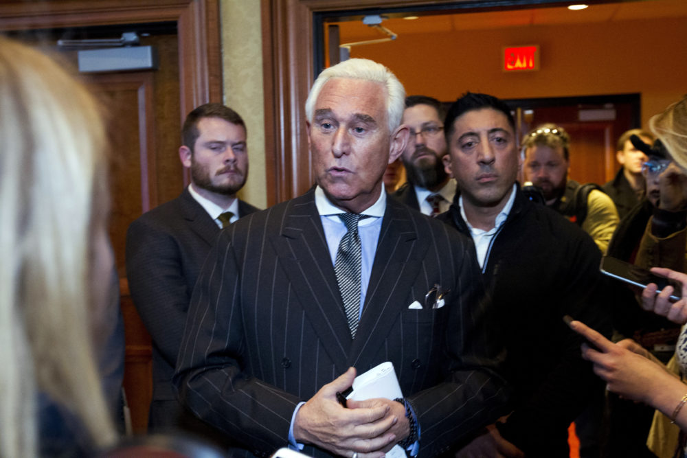 Roger Stone speaks to reporters after speaking at the American Priority Conference in Washington, Thursday Dec. 6, 2018. (Jose Luis Magana/AP)