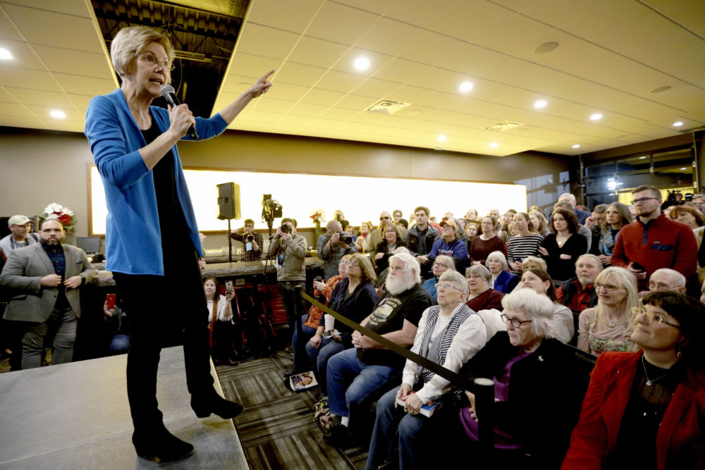 Sen. Elizabeth Warren, D-Mass, speaks during an organizing event at McCoy's Bar Patio and Grill in Council Bluffs, Iowa, Friday, Jan. 4, 2019. (Nati Harnik/AP)