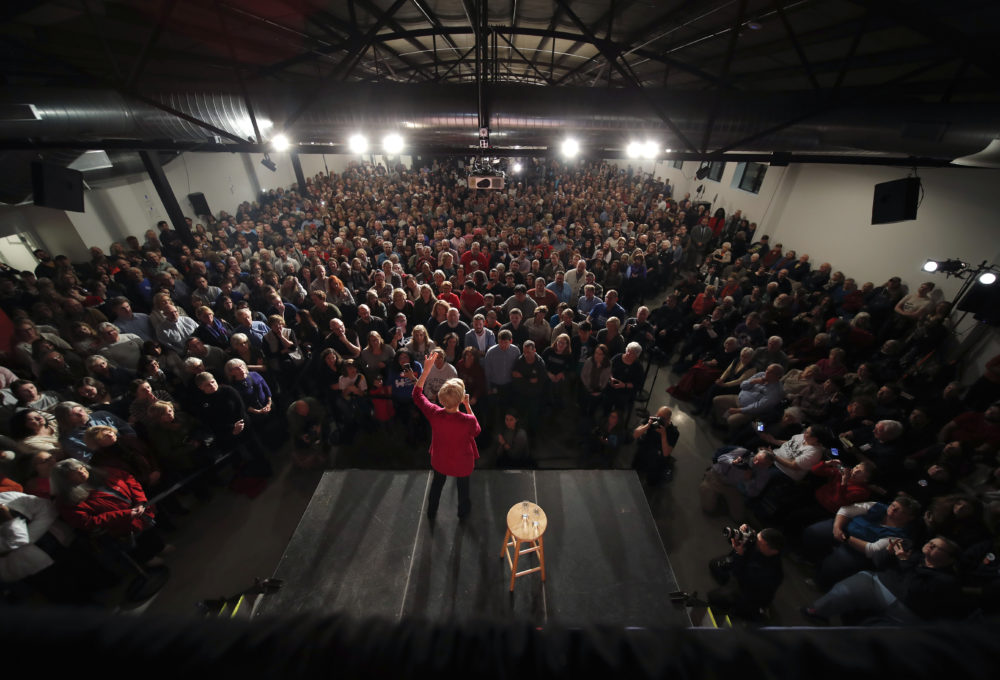 Warren speaks during an organizing event at Curate event space in Des Moines, Iowa, Saturday. (Matthew Putney/AP)
