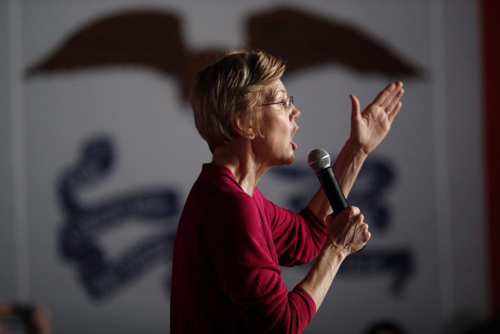 Sen. Elizabeth Warren, D-Mass., speaks during an organizing event at Curate event space in Des Moines, Iowa, Saturday, Jan. 5, 2019. (Matthew Putney/AP)