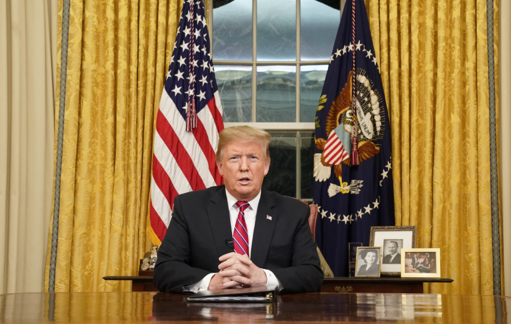 President Donald Trump speaks from the Oval Office of the White House as he gives a prime-time address about border security Tuesday, Jan. 8, 2018, in Washington. (Carlos Barria/AP)