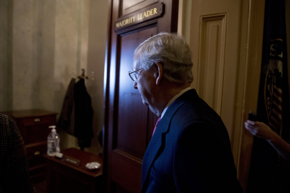 Senate Majority Leader Mitch McConnell of Ky. walks into his office for a meeting with Senate Republicans on Capitol Hill in Washington, Thursday, Jan. 10, 2019. (Andrew Harnik/AP)