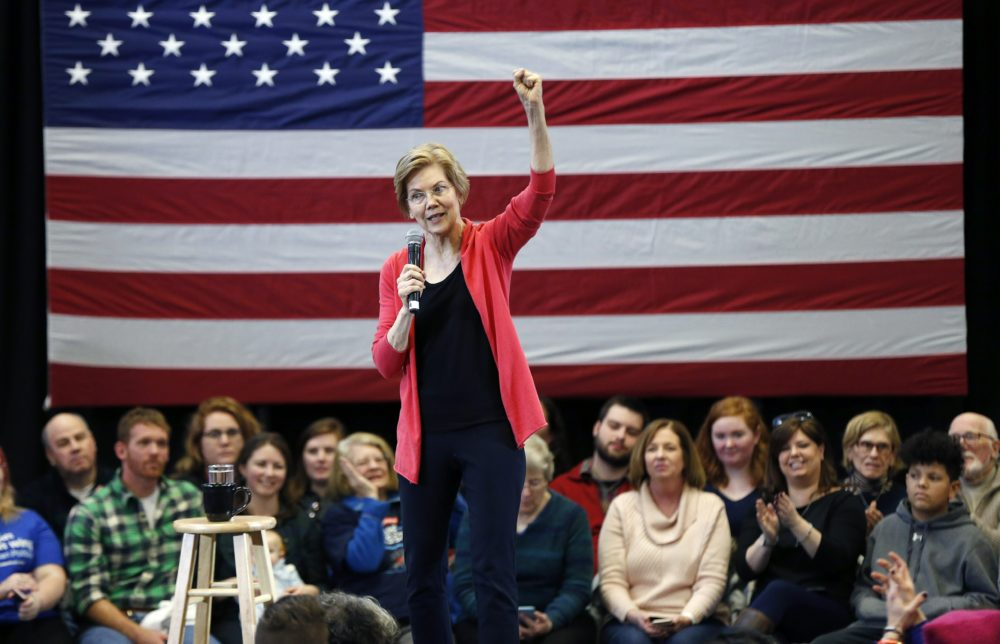 Sen. Elizabeth Warren, D-Mass., speaks during an event at Manchester Community College in Manchester, N.H., Saturday. (Michael Dwyer/AP)
