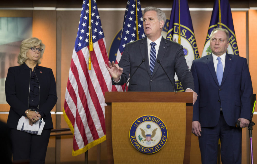 House Minority Leader Kevin McCarthy of Calif., center, speaks accompanied by House Republican Conference chair Rep. Liz Cheney, R-Wyo., left, and House Minority Whip Steve Scalise of La., during a news conference on Capitol Hill, Tuesday, Jan. 15, 2019 in Washington. (Alex Brandon/AP)
