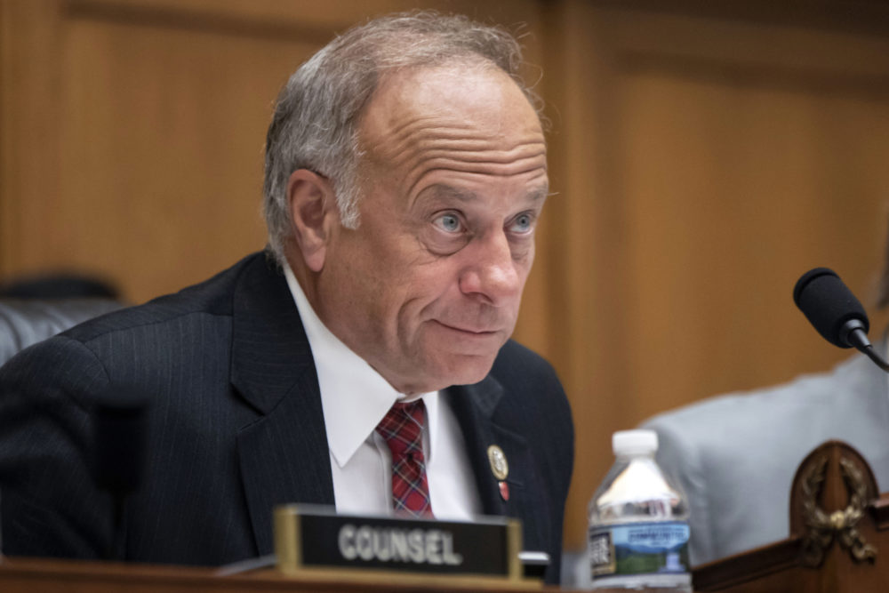 "In this June 8, 2018, file photo, U.S. Rep. Steve King, R-Iowa, listens during a hearing on Capitol Hill in Washington. On Tuesday, Jan. 15, 2019, the House voted 416-1 for a resolution repudiating King's words expressing puzzlement about why terms like ""white nationalist"" are offensive. (J. Scott Applewhite/AP)"