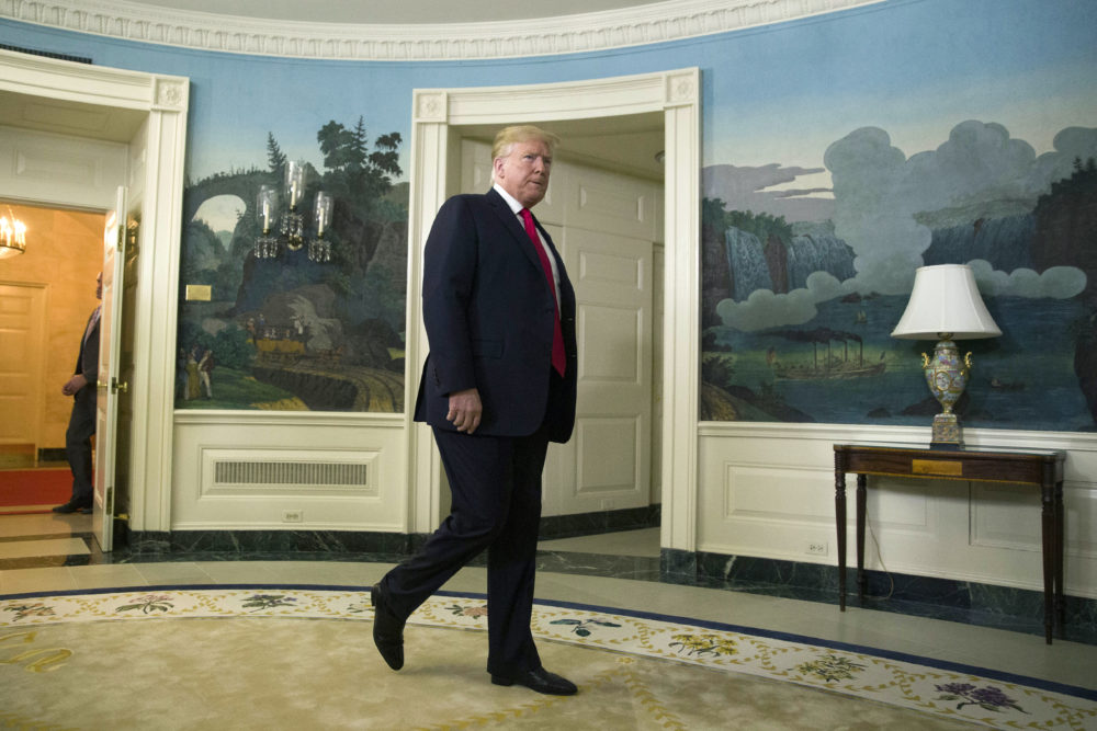 President Donald Trump arrives to speak about the partial government shutdown, immigration and border security in the Diplomatic Reception Room of the White House, in Washington, Saturday, Jan. 19, 2019. (Alex Brandon/AP)