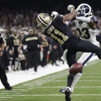 New Orleans Saints wide receiver Tommylee Lewis (11) works for a catch against Los Angeles Rams defensive back Nickell Robey-Coleman (23) during the second half the NFL football NFC championship game Sunday, Jan. 20, 2019, in New Orleans. The Rams won 26-23. (Gerald Herbert/AP)