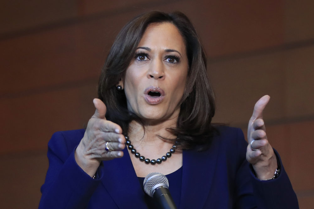 Sen. Kamala Harris, D-Calif., speaks to members of the media at her alma mater, Howard University, Monday, Jan. 21, 2019 in Washington, following her announcement earlier in the morning that she will run for president. (Manuel Balce Ceneta/AP)