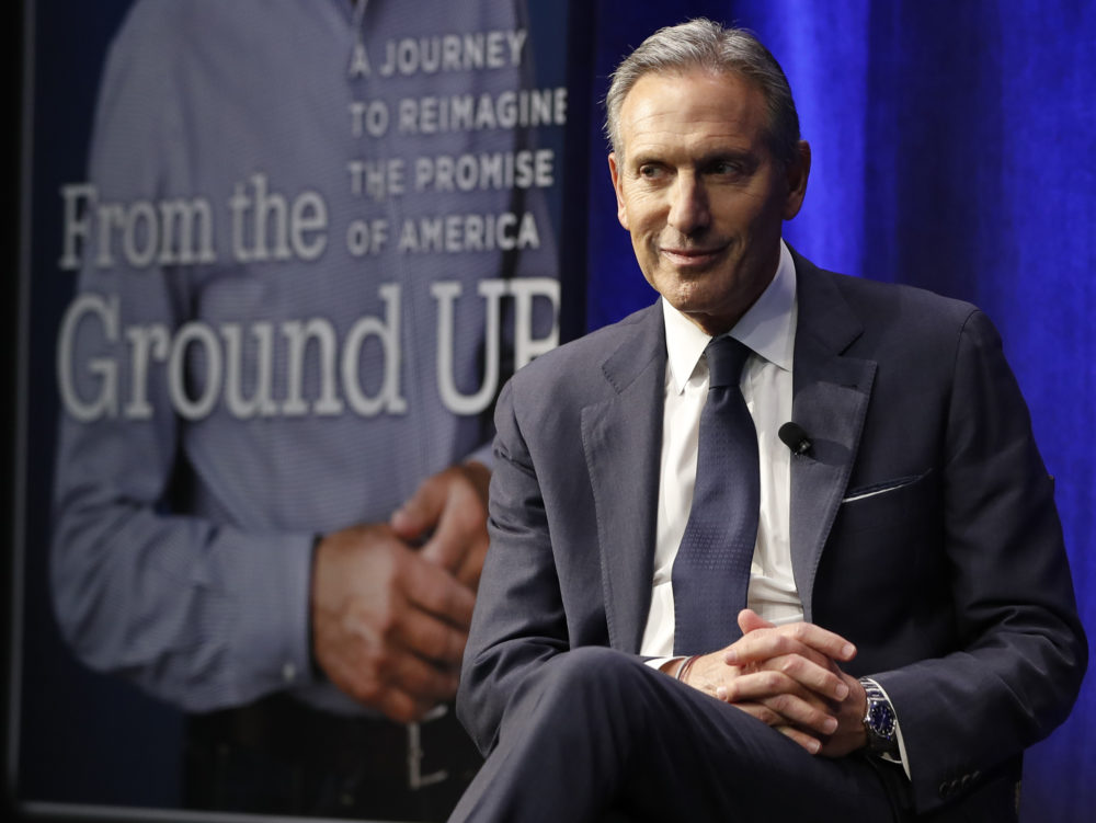 Former Starbucks CEO and Chairman Howard Schultz looks out at the audience during a book promotion tour, Monday, Jan. 28, 2019, in New York. Democrats across the political spectrum lashed out at the billionaire businessman on Monday after he teased the prospect of an independent 2020 bid, a move Democrats fear would split their vote and all but ensure President Donald Trump's re-election. (AP Photo/Kathy Willens)
