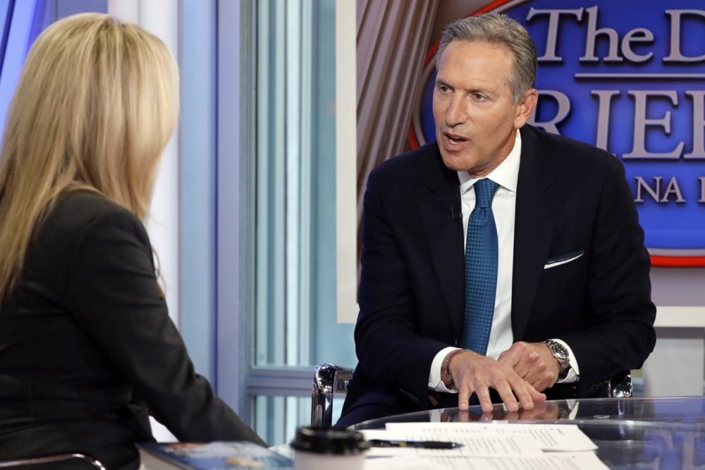 "Former Starbucks CEO Howard Schultz is interviewed by FOX News Anchor Dana Perino for her ""The Daily Briefing"" program, in New York, Wednesday, Jan. 30, 2019. Schultz said he's flirting with an independent presidential campaign that would motivate voters turned off by both parties. (Richard Drew/AP)"