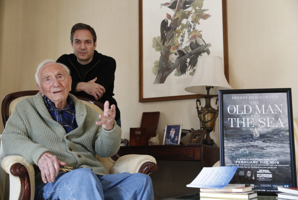 Ernest Hemingway's close friend and biographer A.E. Hotchner, left, and his son Tim Hotchner, a documentary filmmaker and writer, chat during an interview with The Associated Press, Tuesday, Jan. 22, 2019, at the family's home in Westport, Conn. (Kathy Willens/AP)