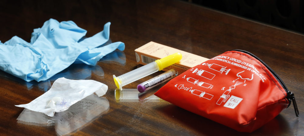 The contents of an emergency opioid overdose kit is seen at the statehouse Tuesday Sept. 29, 2015 in Concord, N.H. (Jim Cole/AP)