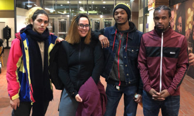 From left to right: Boston Adult Technical Academy students Luis Pacheco, Amanda Vega and Javon Barbour, alongside Nilton Brandom, who graduated last spring (Max Larkin/WBUR)